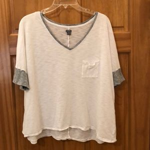 Tops - Aerie white t-shirt with grey trim